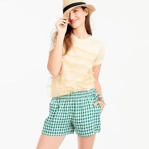 J. Crew Gingham Linen Shorts With Side Ties